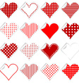 Collection of cute hearts stickers with twisted vector image