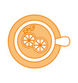 cup of tea with slice lemon refreshment liquid vector image