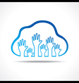 Group of up hands in the cloud vector image