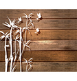 White Bamboo and birds over wood background vector image