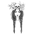 Woman with skull flowers Tattoo art vector image