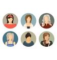 women circle avatar icon set vector image