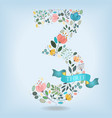 floral number three with blue ribbon vector image