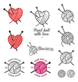 Set of hand knit labels and badges vector image