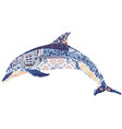 dolphin decorated with ornament vector image vector image