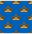 Golden royal crowns seamless pattern vector image