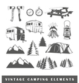 Set camping silhouettes vector image
