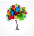 Abstract Tree With Colorful Blots Splashes vector image
