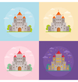 Flat medieval castles set with clouds trees vector image