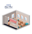 isometric floor plan of restaurant with interior vector image