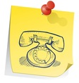 doodle sticky note phone retro vector image vector image
