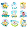 milk products emblems set vector image vector image