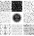 set of seamless pattern with tribal arrows vector image