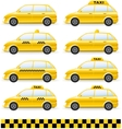 set of isolated taxi car vector image