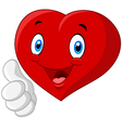 Cartoon heart love giving thumb up isolated on whi vector image