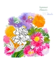 Background with summer flowers and watercolors-07 vector image