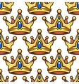 Cartoon golden crowns seamless pattern vector image