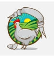 Chicken farm emblem with retro style ribbon for vector image