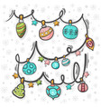 christmas decoration hand draw with pattern vector image