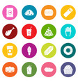 fast food icons many colors set vector image