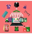 Internet shopping concept laptop with awning vector image