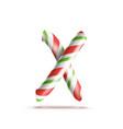 letter x 3d realistic candy cane alphabet vector image