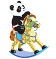 panda riding a rocking horse vector image