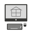 plane house in computer isolated icon design vector image