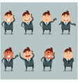 set of flat businessmen with phone vector image