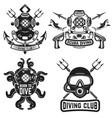 set of vintage dive helmets diver emblems diver vector image
