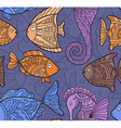 Ornate Sea Seamless Pattern with fishes seahorses vector image