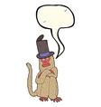 cartoon monkey wearing hat with speech bubble vector image