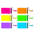 colorful paint rollers vector image