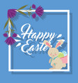 cute bunny carrying in back basket eggs happy vector image
