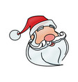 face of santa claus merry christmas character vector image