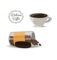 flat set icon jar and cup of coffee vector image