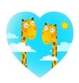 Fun Cartoon Baby Giraffe Animals in Love for Kids vector image