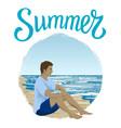man sitting at a beach vector image