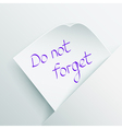 Do not forget vector image vector image