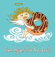 Angel eating big donut vector image