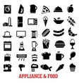 Food and home appliance flat icons vector image