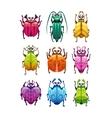 Funny cartoon fantasy bugs set vector image