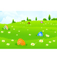 Green Landscape Background with Easter Eggs vector image