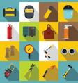 welding icons set flat style vector image