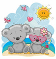 two bears on the beach vector image
