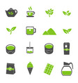 green tea icons set vector image