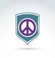 Round antiwar icon on a shield global peace vector image