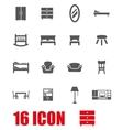 grey furniture icon set vector image vector image