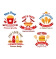 Fast food cafe and grill restaurant retro badges vector image