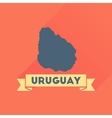 Flat icon with long shadow map of Uruguay vector image